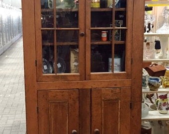 Antique Pine Cupboard, Dining Cupboard, Country China Cupboard, Break Front Pine Cupboard, Glass Door Cupboard