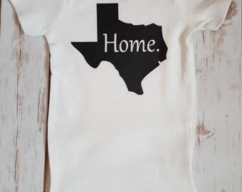 Texas Home Onesie, Baby Onesie, Home Onesie, State Home Onesie, Baby Shower Gift Ideas, Onesie, Baby Girl Onesie, Baby Boy Onesie, Personal