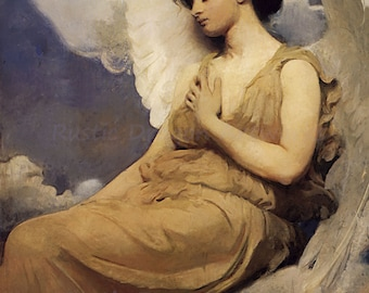 "Abbott Handerson ""Winged Figure"" 1800's Reproduction Digital Print Beautiful Angel Archangel Heaven Religion"