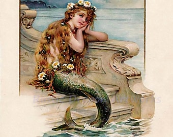 The Little Mermaid Vintage 1894 Reproduction Digital Print Vintage Print Wall Hanging