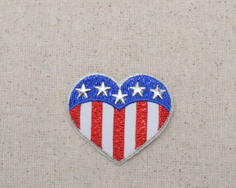 Heart - Patriotic American Flag - Nailhead Stars - Embroidered Patch - Iron on Applique  154144