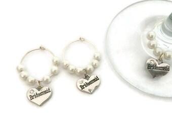 Bridesmaid Wine Charms - Pearl Bridesmaid Wine Charms - Wine Makers for Bridesmaid - Bridesmaid Gift - Wedding Party Favors - Bridesmaid
