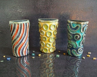 ceramic radiator humidifier or wall vase, raku pottery colorful humidifiers for your radiator convertible in wall vases