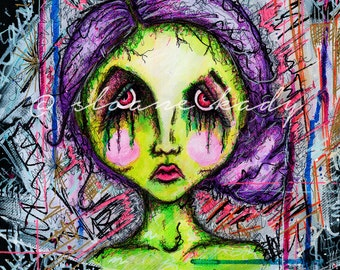 Zombie print, Painting, Zombie Painting, Art, Original Painting, Print, Horror, Mixed Media Art, Giclee, Colorful Art, Modern Art, Creepy
