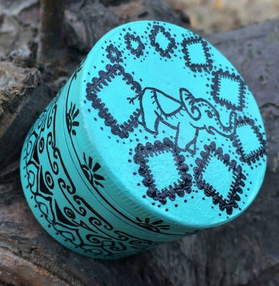 Blue Elephant Hand Painted Grinder