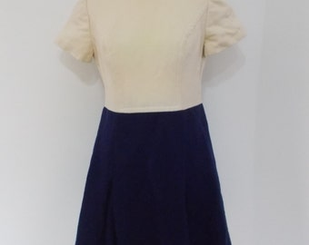 Vintage 60s dress made from wool A line dress cream navy size small