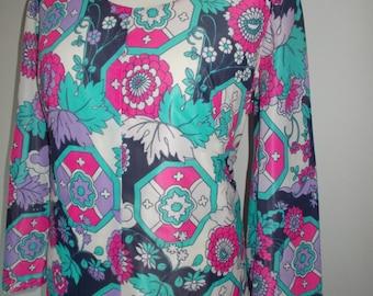 Vintage dress 70s floral maxi prairie dress  size large extra large