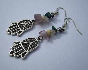 Hamsa & Stone Dangle Earrings