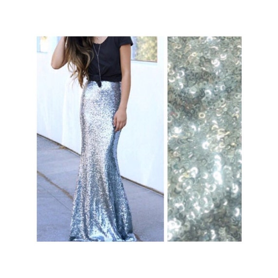 silver sequin maxi skirt by sparklemegorgeous on etsy