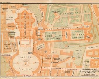 1925 Vatican Italy Antique Map