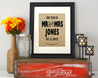 Burlap Wedding Anniversary Sign