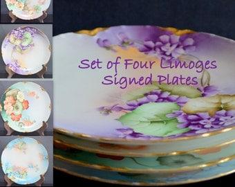 Limoges Haviland Artist Signed Zippel Dinner Plate Set Antique French Porcelain Plate Set of Four (4) Art Nouveau Period Hand Painted Floral