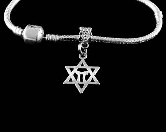 Star of David  Charm Bracelet. Jewish bracelet Hebrew Bracelet European style