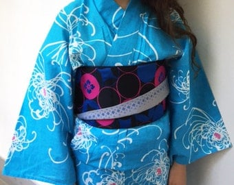 Sky blue yukata and Cute Hanhaba obi set