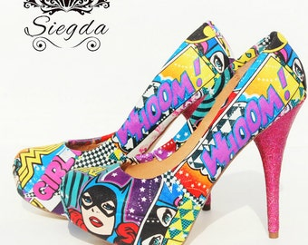 Girl Power with Glitter- Wonder Woman-Batgirl- Supergirl- Choose Your Style