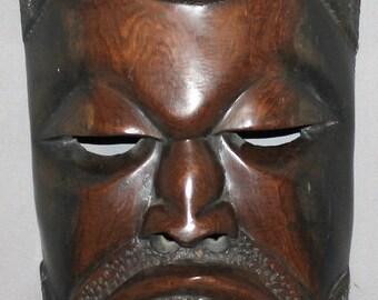 Vintage European Hand Carved Wood Mask