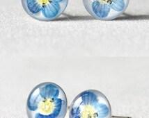 Light blue stud earrings sterling silver stud Girl flower earrings Kids jewelry Resin Minimalist earrings Minimal Button earring studs 8mm