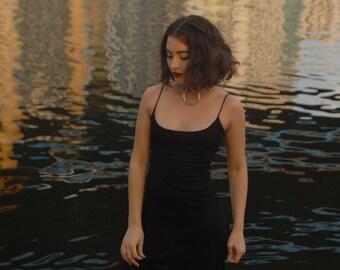 90s Black Maxi Mesh Dress