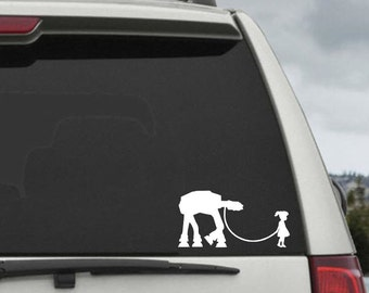 Little Girl Walking AT-AT Decal - Star Wars Car Decal - Star Wars Sticker