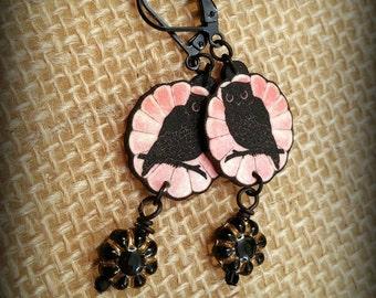 Owl Earrings - Art Deco Owl - Owl Jewelry - Vintage Owls - Black Owl Earrings - Halloween Owl - Shrinky Dink Earrings - Owl Silhouette