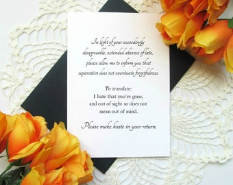 Miss You Jane Austen Funny Formal Greeting Card