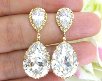 Bridal Crystal Earrings Wedding Jewelry Swarovski Crystal Teardrop Earring Wedding Jewelry Bridesmaid Gift Long Bridal Earrings (E008)