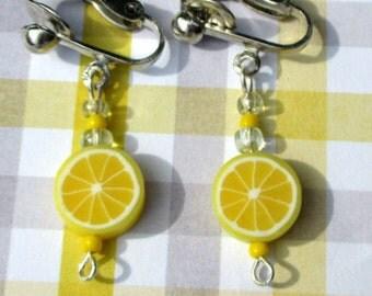 Lemon Earrings-lemon slice jewelry-clip on earrings-fruit jewelry-kids gifts-Fruit posts-polymer clay-girls summer jewelry-teen food earring