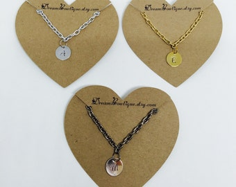 12mm Hand Stamped Letter Charm Necklace, Hand Stamped Initial Necklace 12mm