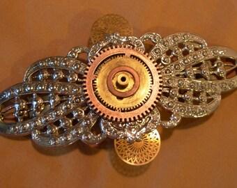 Steampunk gears hair barrette