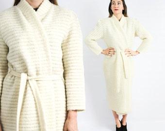80s Winter White Wool Knit Sweater Coat | Schrader Knits | Medium