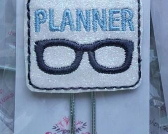 Baby Blue Planner Nerd Geek Glasses Paper Clip