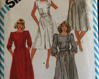 Simplicity 6212 - 1980s Dress with Square Neckline and Off Center Front Button Closing - Size 12 Bust 34