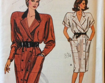 Vogue 9643 - 1980s Notched Collar, Double Breasted Dress with Kimono Sleeves - Size 14 16 18
