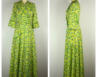 Vintage 1940s Robe / 40s Green and Yellow Floral Dressing Gown / Small