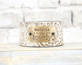 Inspirational Jewelry - Leather Cuff - Leather Bracelet - Hand Stamped Jewelry - Everyday Bracelet - Metal Stamped - Leather Cuff Bracelet