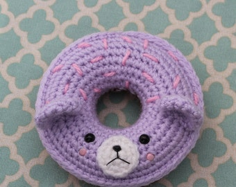 Crochet Teddy bear donut choclate with purple frosting ( Ready to ship)