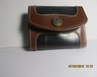 "SALE!Vintage-Brahmin- Mini Size-Womens-  Leather Trifold/Billfold forCash/Coins/Keys/Credit and ID -plus a ""God is Our Hope"" Button/Snap*"