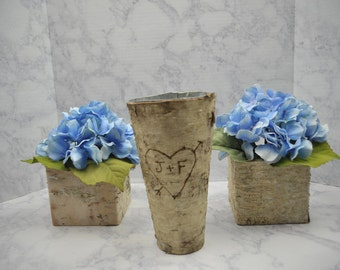 Personazlied Birch-Wrapped Vase, Rustic Wedding Decor - Custom Vase Gift