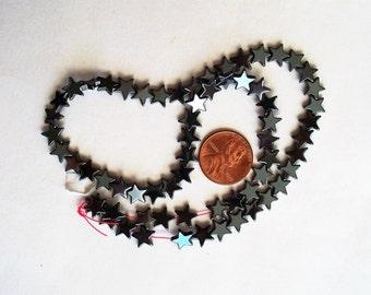"""Hemalyke Beads, Hemalyke Star Beads, Black Hemalyke Beads, 8mm x 2mm, 16"""" strand, drilled"""