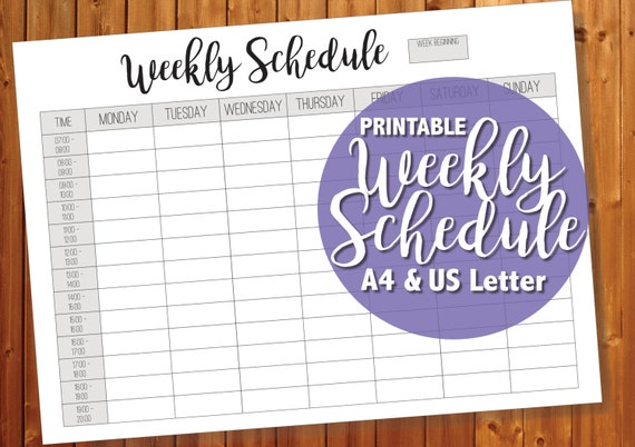 Printable Weekly Schedule Weekly Timetable A4 And Us