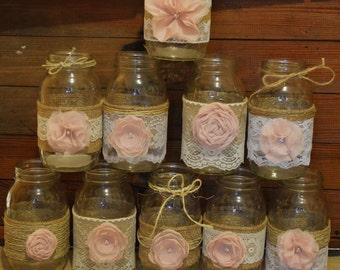 10 Mason Jar Sleeves, Baby Girl Shower, Wedding Centerpieces, Burlap Mason Jars, Baby Girl, Burlap and Lace Sleeves