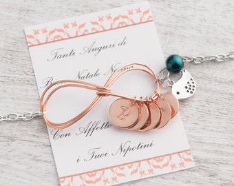 family gold bracelet with 5 initials birthstone & rose gold infinity mom as new mom bracelet as mom of 5 kids - engraved 5 initials