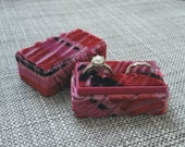 Marbled Multicolor - Purple, Pink, Cranberry - Handmade - Vintage Inspired Velvet Double Ring Box - Engagement and Wedding Ring Set Holder