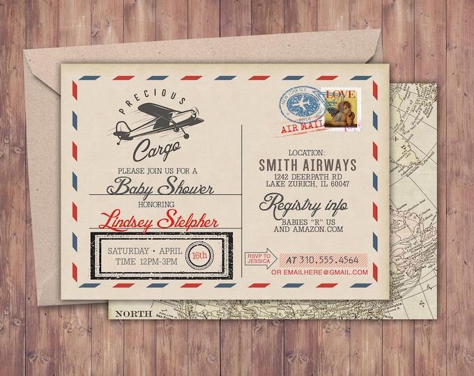 Precious Cargo Invitation, Baby Shower Invitation •  vintage airplane invitation, Airplane, vintage travel