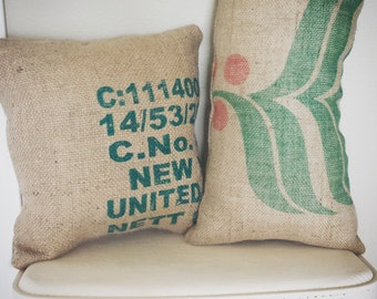 Burlap Coffee Bean Bag Accent Pillows