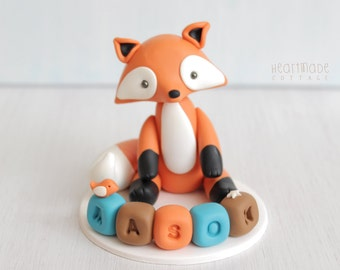Fox baby shower cake topper, woodland personalised cake topper with name blocks, birthday red fox keepsake, clay ornament