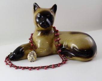 Rhodochrosite Crochet Necklace with Wire Wrapped Ocean Jasper Teardrop Pendant | Long Reversible Pendant Necklace | Natural Stone Necklace