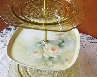 3 tier vintage yellow cake stand, dessert stand, cupcake stand, Mother's Day, roses, tea party, wedding centerpiece, anniversary party,