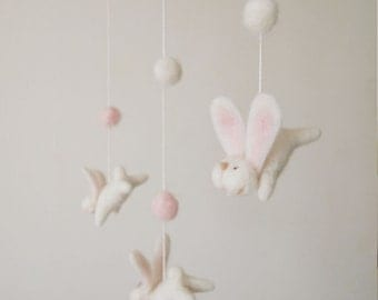 Nursery mobile - felted bunny mobile - felted rabbit mobile - baby crib mobile - nursery decor