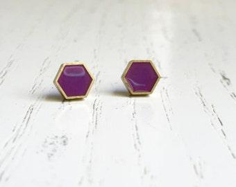 Pink Hexagon studs Earrings. Titanium Hypoallergenic Stud (#060)
